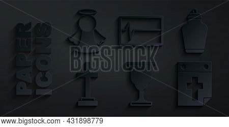 Set Christian Chalice, Funeral Urn, Grave With Cross, Calendar Death, Beat Dead In Monitor And Angel