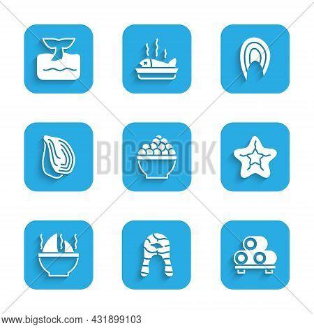 Set Caviar, Fish Steak, Sushi On Cutting Board, Starfish, Shark Fin Soup, Mussel, And Whale Tail Oce