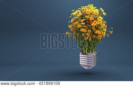 A Light Bulb With Beautiful Flower Inside, 3d Rendering