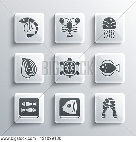 Set Fish Head, Steak, Turtle, Canned Fish, Mussel, Shrimp And Jellyfish Icon. Vector