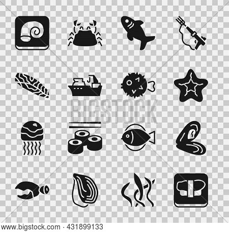 Set Sushi On Cutting Board, Mussel, Starfish, Shark, Fishing Boat, Steak, Octopus Plate And Hedgehog