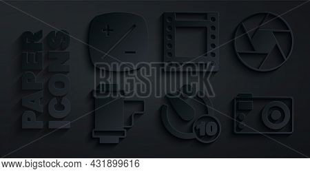 Set Camera Timer, Shutter, Roll Cartridge, Photo Camera, And Exposure Compensation Icon. Vector