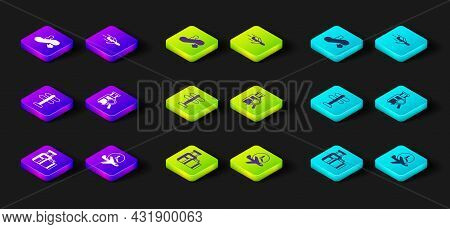 Set Suitcase, Flight Time, Road Traffic Sign, Lost Baggage, Plane And Escalator Down Icon. Vector