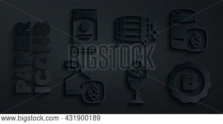 Set Glass Of Beer, Metal Keg, Beer Brewing Process, Bottle Cap With, Wooden Barrel And Can Icon. Vec