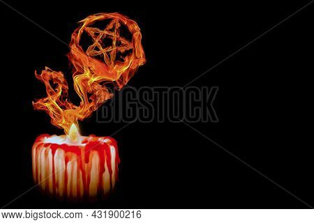 Mystical Flame Of Burning Candle Forms Magical Symbol Pentagram. Magic Sign Isolated On Black Backgr