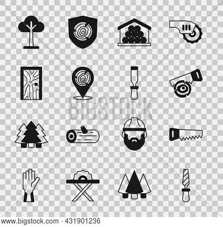 Set Rasp Metal File, Hand Saw, Log, Wooden Logs, Closed Door, Tree And Chisel Tool Icon. Vector
