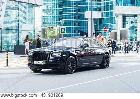 Moscow, Russia - August 2021: Front Side View Of A Very Expensive Premium Rolls Royce Ghost Car, Lux