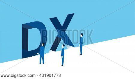 Dx,digital Transformation Image,businssman Standing,vector Illustration,blue Background,white Copysp