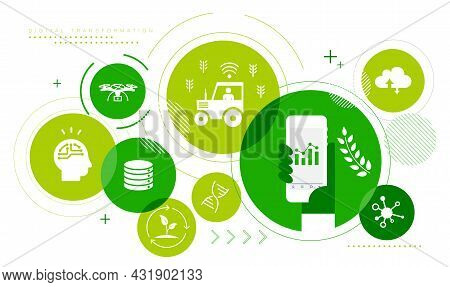 Agriculture,digital Transformation  Image Icon Set,startup,vector Illustration,white Isolated