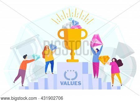 Business Values Concept. Company Values Shared By Staff.