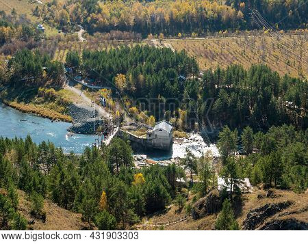 Chemal Hydroelectric Power Station. Autumn View From The Mountain To The Katun River. Chemal, Altai
