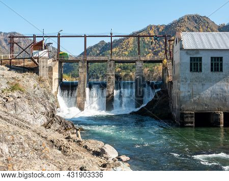 Chemal Hydroelectric Power Station. View Of The Katun River. Chemal, Altai Republic, Russia.