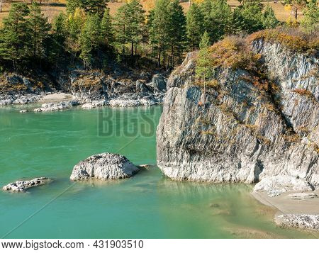 Autumn View Of The Turquoise Katun River And Rocks. Chemal, Altai Republic, Russia.
