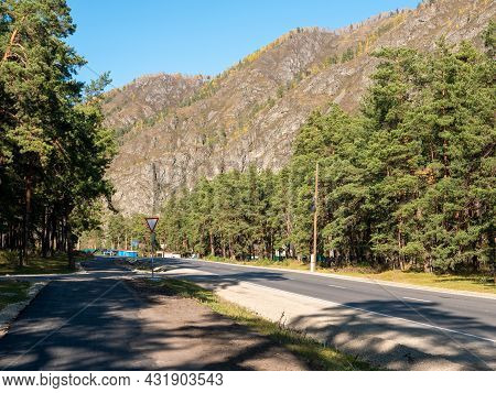Main Road Of The Chemal Village Is Along The Pine Forest And The Altai Mountains. Chemal, Altai Repu