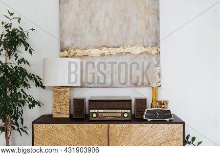 Home Interior With Vintage Decor, Living Room Design. Closeup Of Retro Furniture With Wooden Decorat
