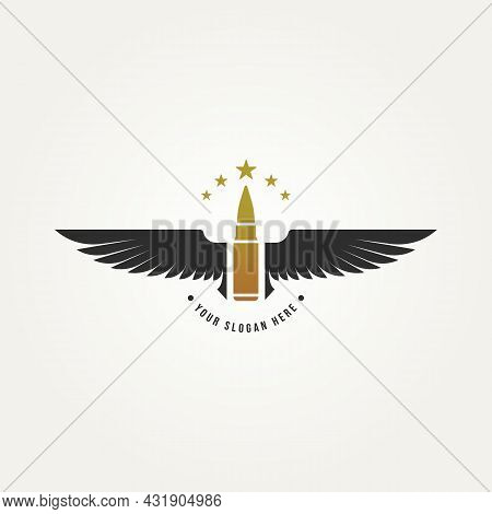 Military Logo Badge With Bullet And Wings Template Vector Illustration Design. Army, Navy, Air Force