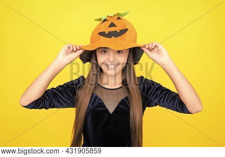 Pumpkin Costume. Childhood Autumn Holiday. Teen Girl Ready To Celebrate Party. Costume Party Fun. Ja