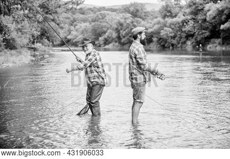Good Things For Good Days. Summer Weekend. Mature Men Fisher. Two Happy Fisherman With Fishing Rod A