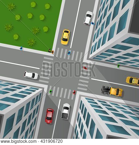 City Street Top View 3d Design Concept With Crossroad Cars Buildings And Markings Of Pedestrian Cros
