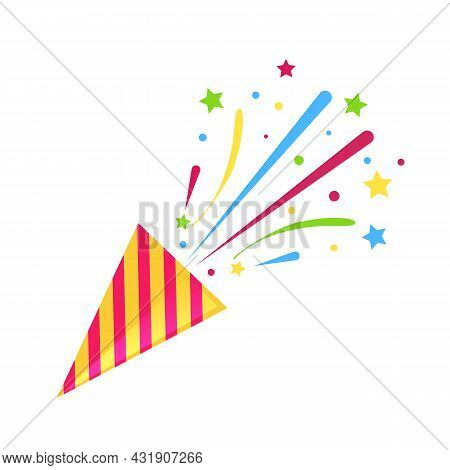 Party Popper With Confetti On White Background. Birthday Concept. Vector Stock