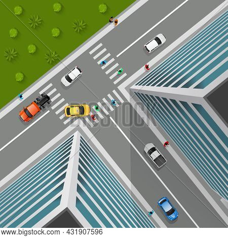Top View On City Crossroad In 3d Design With Cars Pedestrians Truck In Business District Vector Illu