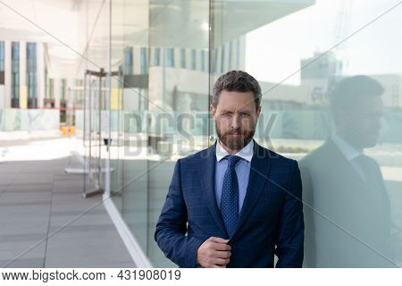 Entrepreneur Outside The Office. Male Formal Business Fashion. Professional Unshaven Ceo.