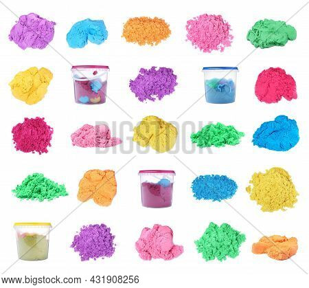 Set With Colorful Kinetic Sand On White Background