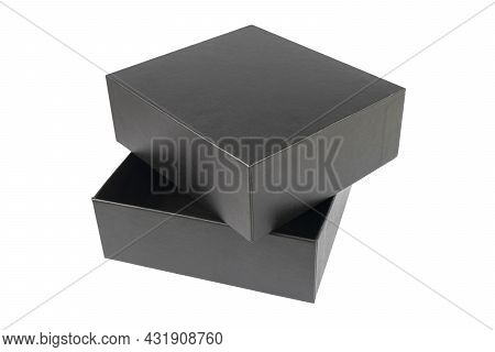 Open Cardboard Box Isolated On White Background. Gift Box Isolated. Opened Package Box With Clipping
