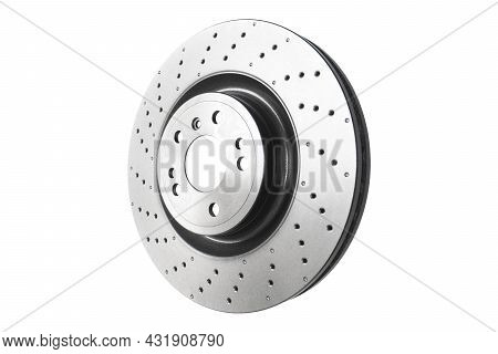 Car Brake Disc Isolated On White Background. Auto Spare Parts. Perforated Brake Disc Rotor Isolated
