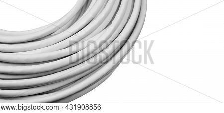 Internet Data Cable Isolated On White Background. Internet Communication Concept. Network Internet C