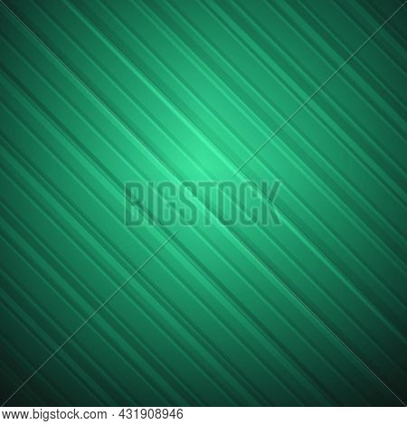 Abstract Line Background With Diagonal Stripes On A Gradient In Shades Of Green.