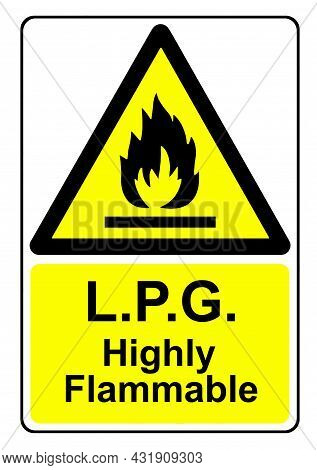 A Lpg Highly Flammable Yellow Warning Sign