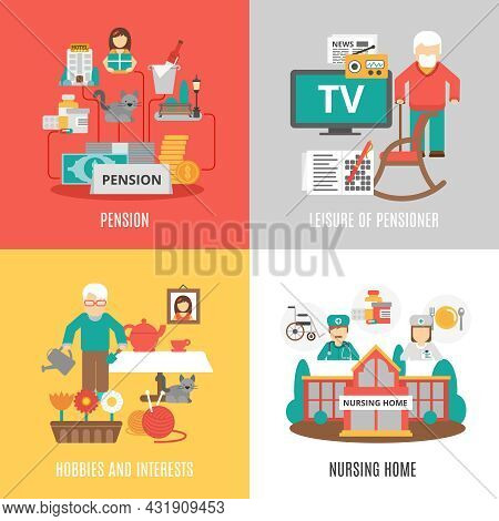 Pension Hobbies And Interests Leisure Of Pensioner And Nursing Home 2x2 Images Set Flat Vector Illus