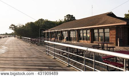 Concession Stand Building On The Boardwalk Of Sunken Meadow State Park Looking East On A Rainy Summe