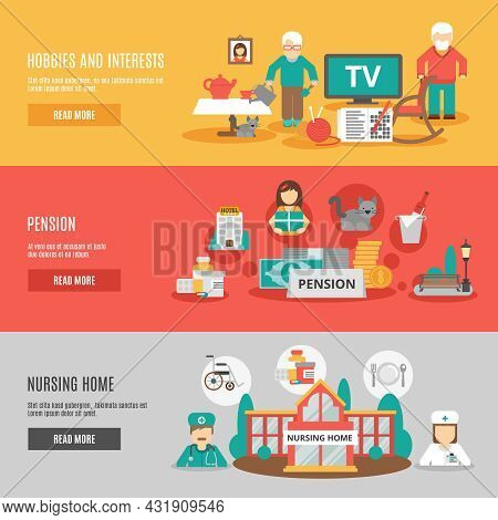 Old People Hobbies And Interests Pension And Nursing Home Horizontal Banners Set Flat Vector Illustr