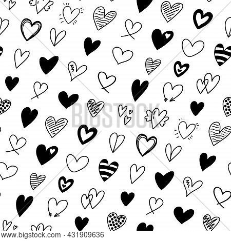 Seamless Pattern With Different Hand Drawn Heart Doodles. Romantic Black And White Heart Shapes Back