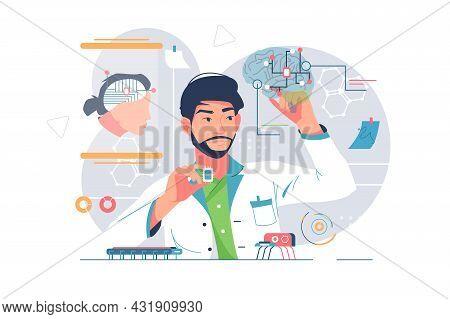 Laboratory Of High Nano Technologies Vector Illustration. Scientist Explore Human Brain Flat Style.