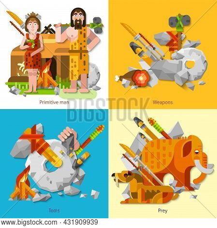 Prehistoric Stone Age Caveman 2x2 Design Concept Set Of Primitive Man And Woman Weapons Prey And Anc