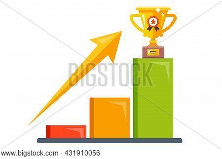 A Sales Leader Among Competitors. Get A Golden Goblet. Flat Vector Illustration.