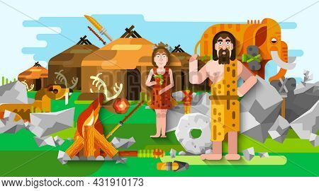 Prehistoric Stone Age Caveman Composition In Cartoon Style With Primitive People Fire Mammoth And An