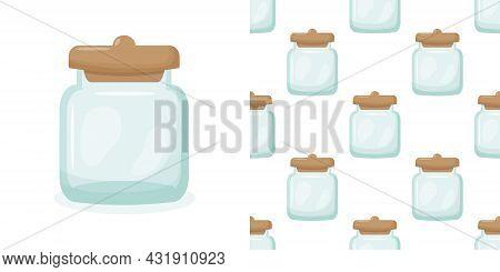 Glass Jar Seamless Pattern. Empty Glass Jar Isolated Illustration Background.