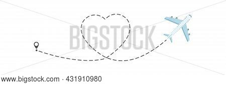 Airplane Love Route Journey Illustration. Heart Dashed Line Path With Start Point And Dash Line Trac