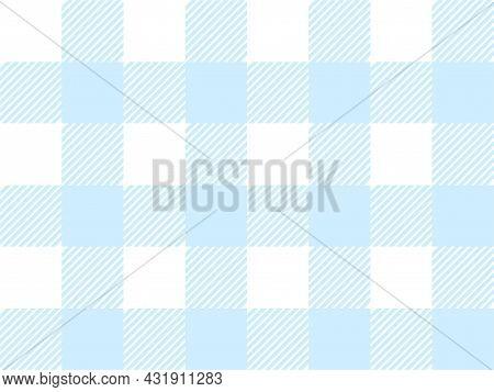 Blue And White Lumberjack Plaid Seamless Pattern. Simple Vintage Textile Design. Scottish Cage. Tart