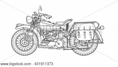 Classic Retro Motorcycle Vector Illustration Coloring Page For Adults For Drawing Books. Line Art Pi