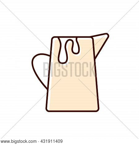 Milk Jug Flat Icon. Creamer For Coffee. Color Filled Symbol. Isolated Vector Stock Illustration