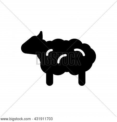 Sheep Glyph Icon. Wool Fabric Feature. Textile Industry. Material Quality. Fiber Type. Black Symbol.