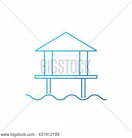 Water Bungalow Outline Icon. Maldives Attraction. Coral Island. Tropical Resort. Blue Gradient Symbo