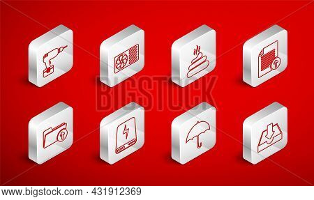 Set Line Download Inbox, Air Conditioner, Shit, Upload File, Umbrella, Drill Machine, Power Bank And