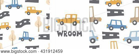 Children's Patterns Set With Cars. Cars. Transport. Road. Vector Hand-drawn Color Seamless Repeating