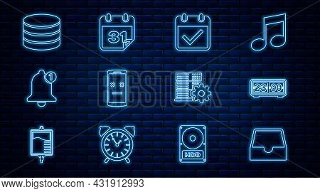 Set Line Social Media Inbox, Retro Flip Clock, Calendar With Check Mark, Dead Mobile, Bell, Database